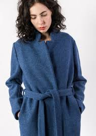 elsien gringhuis long blue wool coat with belt
