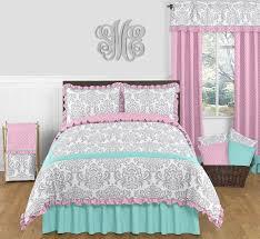 girl full size bedding sets sweet jojo designs blue pink grey damask girl kid teen full queen