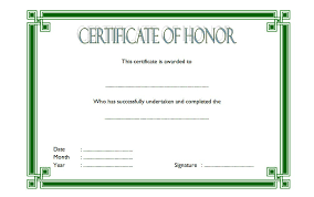 Certificate Of Honor Template Honor Certificate Template Word Free 3 One Package