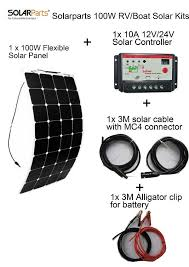 solarparts standard kits 100w diy rv boat kits solar system 100w flexible solar panel controller cable outdoor light led module