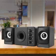 SOONHUA Adjustable Bass Treble Tombol Mini USB 2.1 BT Speaker Komputer  Subwoofer Speaker 3.5Mm Antarmuka Hitam Gratis Pengiriman|Subwoofer