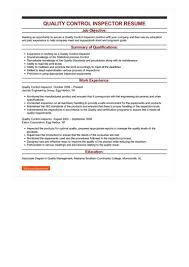 quality resumes sample quality control inspector resume