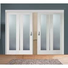 Sliding Room Divider with White Obscure Glazed Doors