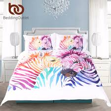 bedding animal print duvet cover rainbow zebra bedspread colorful art watercolor bedding set uk size 3 pcs home textiles in bedding sets from home