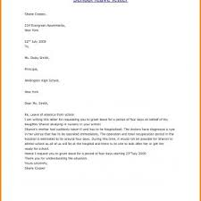 Formal Letter Format Absent School New School Excuse Letter For