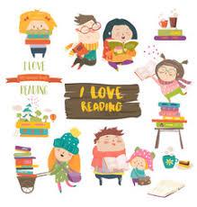 set of cartoon children reading books vector