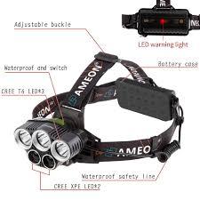 Ameon Headlamp 5 Led Headlight Waterproof Ipx5 Flashlight