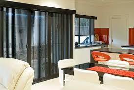 image of black vertical blinds for sliding glass doors