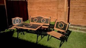 table 2 chairs and bench. garden table, bench, 2 chairs set. cast iron and wood table bench