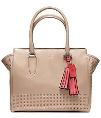 COACH Legacy Perforated Leather Medium Candace Carryall Satchel,  Bisque Hibiscus