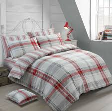 details about 100 brushed cotton warm cosy red check single bed duvet cover bedding set