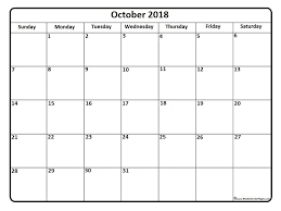 Calendar In Word Document October 2018 Calendar Word Excel Pdf Page Document Free