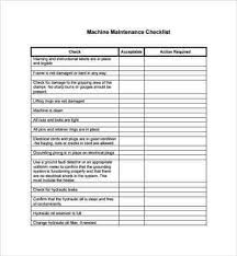 Checklist Templates Inspiration Machine Maintenance Checklist Template Template Designs And Ideas