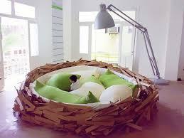 Bedroom:Kids Bedroom With Unique Birt Nest Bed Feat Huge Green Pillows Kids  Bedroom With
