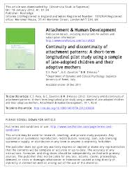 Attachment Patterns Cool PDF Continuity And Discontinuity Of Attachment Patterns A Short