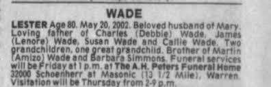 Obituary for LESTER WADE Aoe (Aged 80) - Newspapers.com