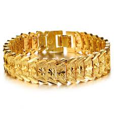 Gents Gold Bracelet Design Us 8 9 Opk Jewelry Luxury Gold Color Bracelet Bangle Wide Surface 17mm Attractive Men Jewelry Top Workmanship 398 In Chain Link Bracelets From