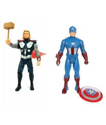 Combo Of 2 Avengers Action Figure Toy Captain America Thor 20 Cms