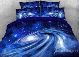 onlwe 3d spiral galaxy universe printed cotton 4 piece blue bedding sets duvet covers