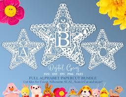 Alphabet Kids Star Paper Cut Designs Svg Dxf Eps Png Files