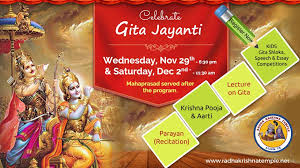 bhagavad gita jayanti celebrations at radha krishna temple radha  22 nov bhagavad gita jayanti celebrations at radha krishna temple