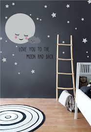 Moon & Stars Nursery Wall Decals with Removable <b>Cute</b> Baby ...