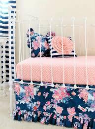 blue fl crib bedding stripe and pillow c navy nursery decor peach ruffle baby next home