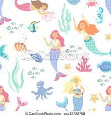 Mermaid Pattern Amazing Cartoon Mermaid Seamless Pattern On Transparent Background Vector