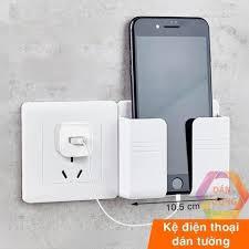 Mã INCUBACK0909 hoàn 20K xu đơn 0Đ] Kệ dán tường - Giá đỡ điện thoại khi  sạc dán tường có khe cắ