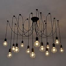 pendant lighting chandelier. Fuloon Vintage Edison Multiple Ajustable DIY Ceiling Spider Lamp Light Pendant Lighting Chandelier Modern Chic Industrial Dining (14 Head Cable E