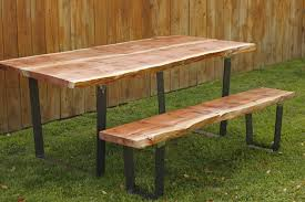 Redwood Slab Dining Table Arbor Exchange Reclaimed Wood Furniture Redwood Slab Table Bench