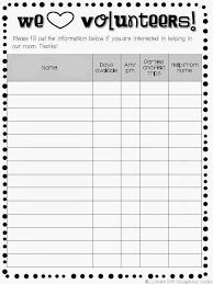 volunteer schedule template. parent volunteer sign up sheet