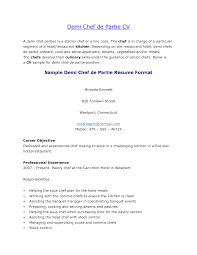 Demi Chef De Partie Resume Sample Free Resume Example And