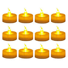 Wonenice Amber Flickering Led Tea Lights Battery Powered Candles Decorations For Parties Events Weddings Pack 12