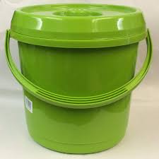 lime green handled 14lt plastic garden storage cleaning bucket bin with lid co uk kitchen home