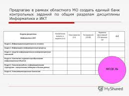 Презентация на тему с сентября года в образовательных  7 Предлагаю в рамках областного МО создать единый банк контрольных заданий по общим разделам дисциплины Информатика и ИКТ 7 МОДЕЛЬ