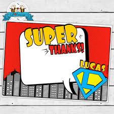 Personalized Superheroes Superheroes Party Personalized Thank You Cards