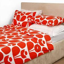 orla kiely 100 combed cotton wallflower print tomato 3 pc full duvet cover set