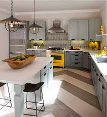 Houses Gardens People gray yellow kitchen