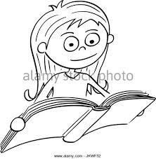 hand drawing cartoon vector ilration of reading a book stock vector
