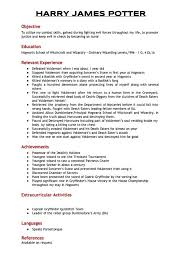 Harry Potter's resume when he applied for the position of Auror.