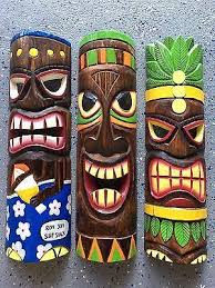 set of 3 20 tiki mask hawaiian wall art island home decor tribal bar tropical on tiki mask wall art with set of 3 20 tiki mask hawaiian wall art island home decor tribal