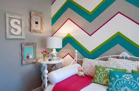 bedroom wall designs for girls. Chevron Patterns Add Both Color And Class To The Kids\u0027 Bedroom [Design:  Judith Wall Designs For Girls C