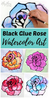 black glue rose watercolor resist art project a fun and easy spring and summer flower painting idea for kids teens and s the tutorial includes how