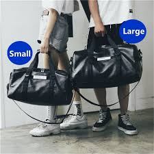 2019 new leather men travel bags carry on luggage bags women duffel totes handbag black travel tote large weekend bag 2 size travel bags