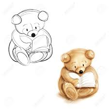stock photo teddy bear reading a book drawing bear