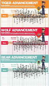 Wolf Advancement Chart Tiger Cub Requirement Tracking Related Keywords