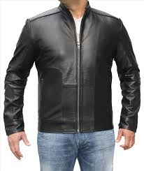 men fashion leather jacket black tail