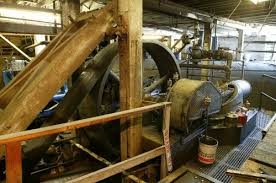 steam powered sawmill. the steam engines have fewer breakdowns than any other equipment at mill. larger engine has two 16-in. cylinders, an 18-in. stroke, and pulley powered sawmill
