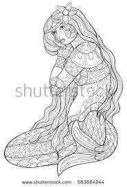 coloring book mermaid zen art style poster